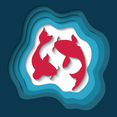 Paper cut out background with 3d effect, two koi fish carving art, vector illustration Illustration