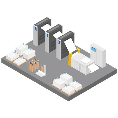 Paper Mill or Factory Illustration