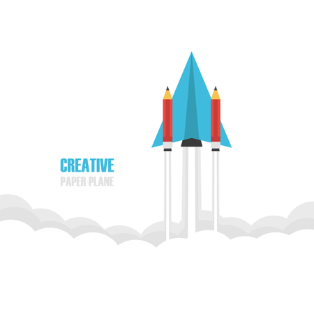 Paper Plan With Pencil Booster Fly To Creative Space Illustration