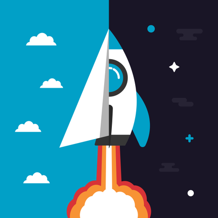 Paper Plane And Rocket Launching To Space Illustration