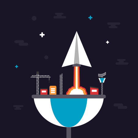 Paper Plane Launch To Space From Base Illustration