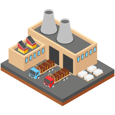 Paper production Factory Illustration