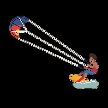 Parachute Boarding Illustration