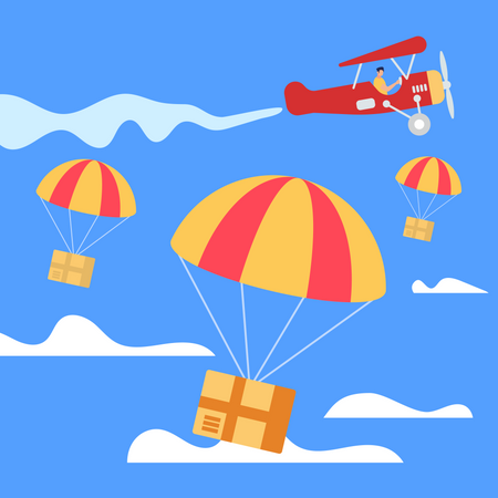 Parachutes with Boxes Falling Down from Airplane Illustration