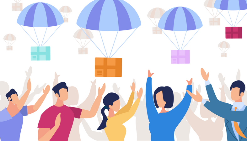 Parachutes with Boxes Falling from Sky in delivery concept Illustration