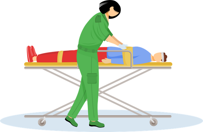 Paramedic giving first aid Illustration