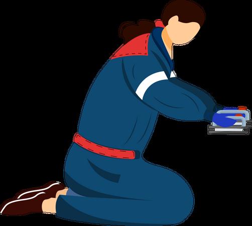 Paramedic with defibrillator Illustration