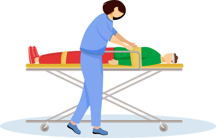 Paramedic with injured patient on stretcher Illustration