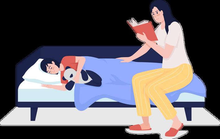 Parent reading bedtime story for child Illustration