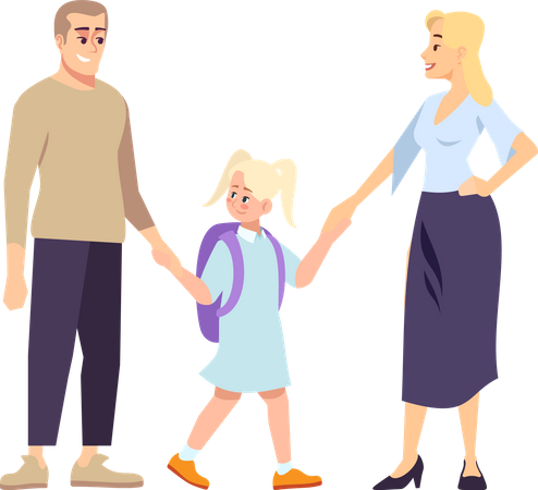 Parents and daughter schoolgirl holding hands Illustration
