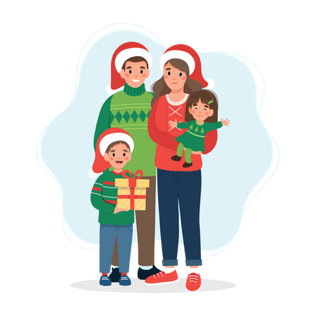 Parents celebrating Christmas with their kids Illustration