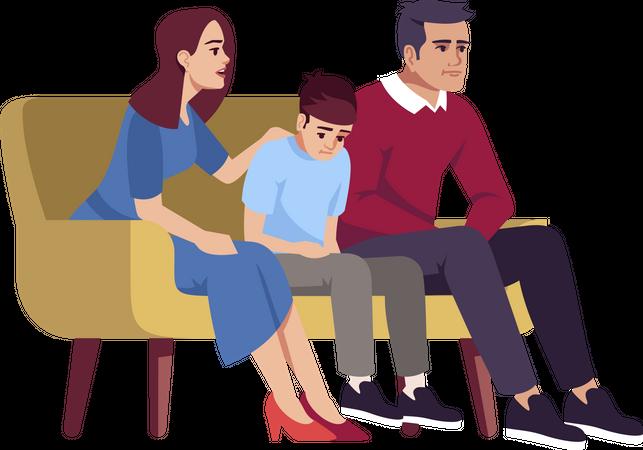 Parents communicating with sad son Illustration