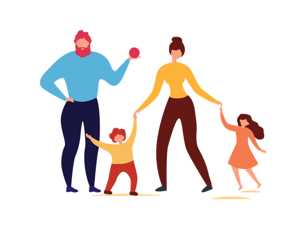 Parents enjoying free time with their kids Illustration