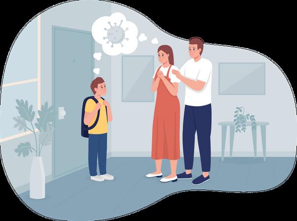 Parents feeling anxious about kid having coronavirus infection Illustration
