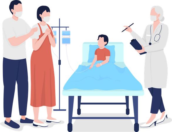 Parents feels relief after child checkup Illustration