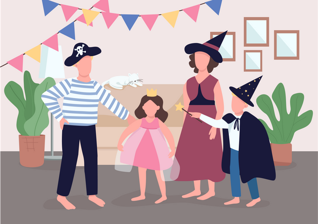 Parents get kids ready for Halloween Illustration