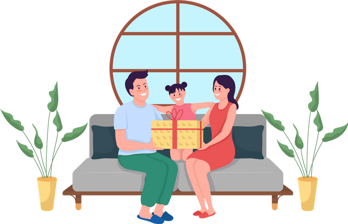 Parents giving gift to daughter Illustration