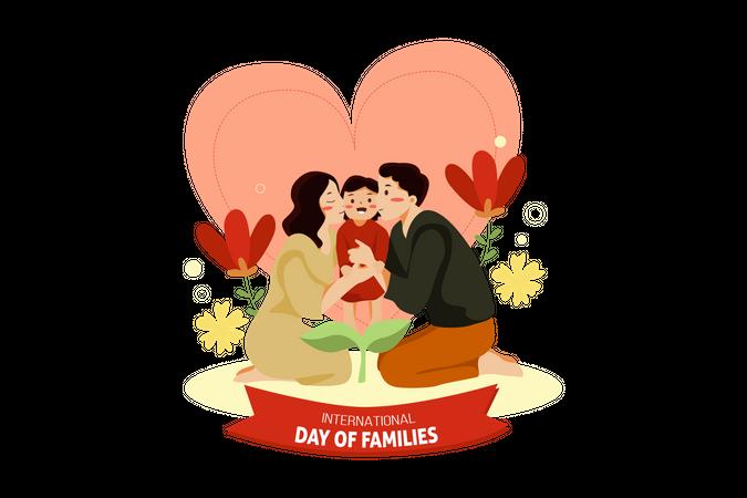 Parents kissing to child Illustration