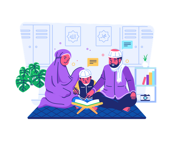 Parents teaching their child to read quran Illustration