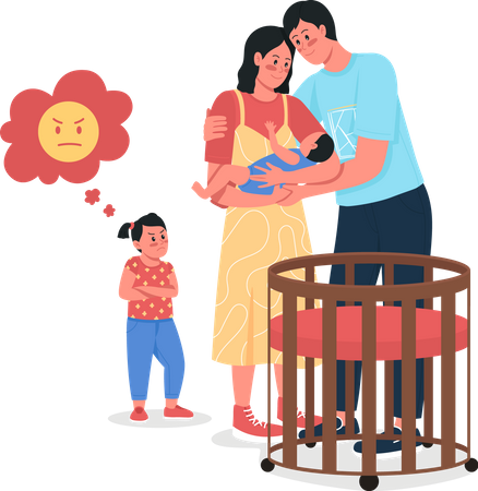 Parents with baby and upset daughter Illustration