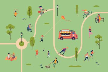 Amusement Park Map Illustration Pack