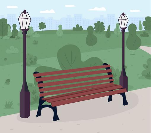 Park bench Illustration