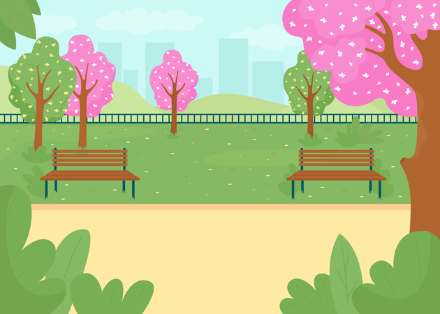 Park in spring season Illustration