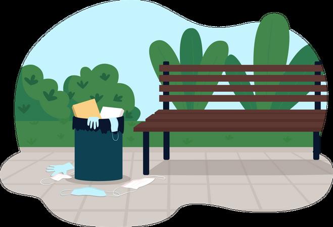 Park pollution Illustration