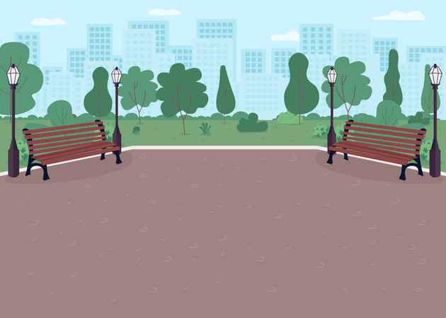 Parkway with benches Illustration