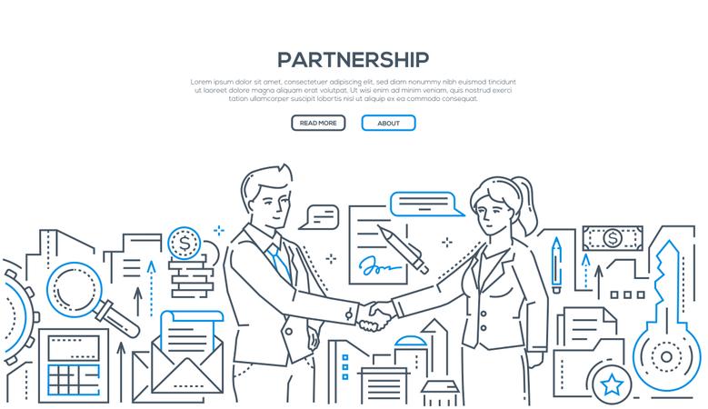Partnership - Modern Line Design Style Illustration Illustration