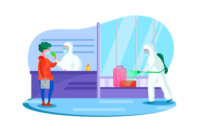 Passenger health check and disinfectant spraying at the airport Illustration