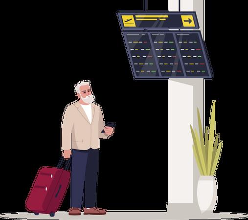 Passenger waiting for flight at lounge Illustration