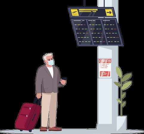 Passenger wearing mask waiting for flight Illustration