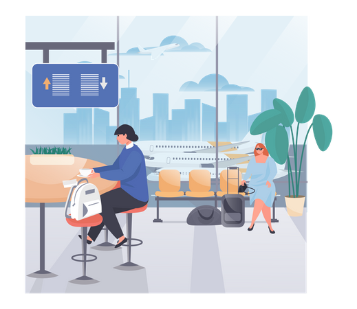 Passengers At Airport and Waiting For the Flight Illustration