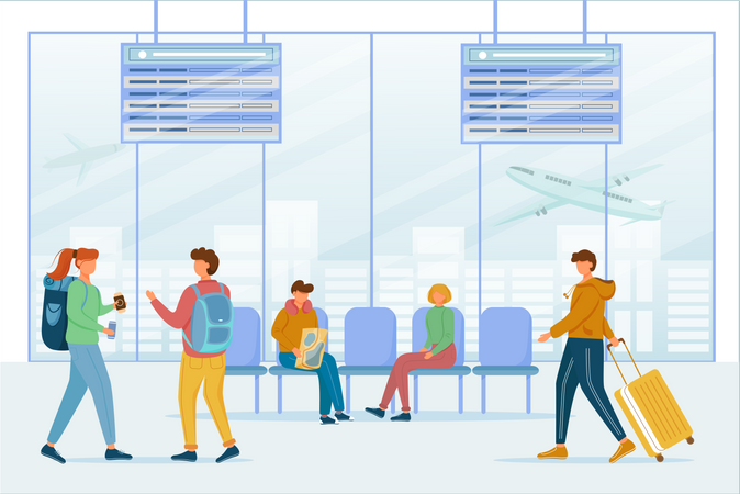 Passengers in airport lounge area Illustration