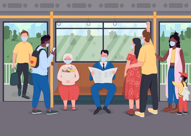 Passengers in masks in public transport Illustration
