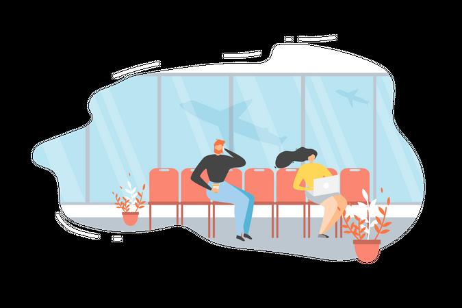 Passengers Waiting for Flight Illustration
