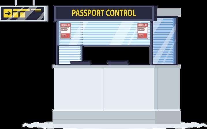 Passport control window with coronavirus warning Illustration