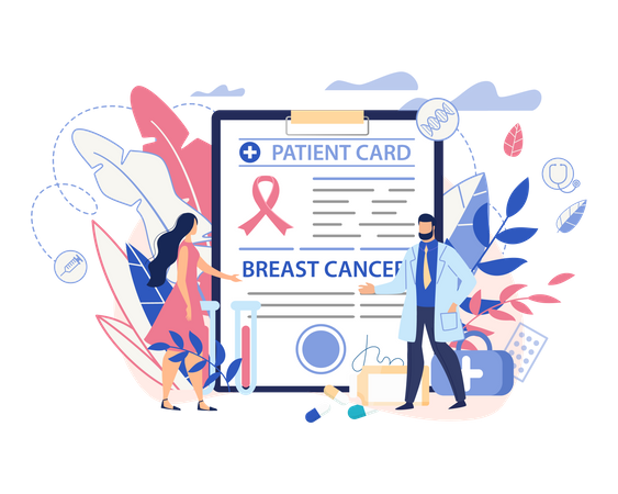 Patient card of breast cancer patient Illustration