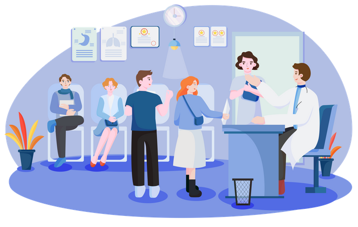Patient meeting doctor for health checkup Illustration
