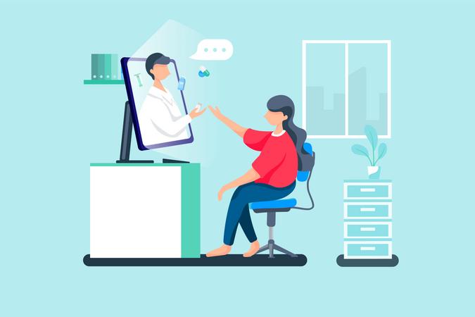 Patient taking online treatment through doctor Illustration