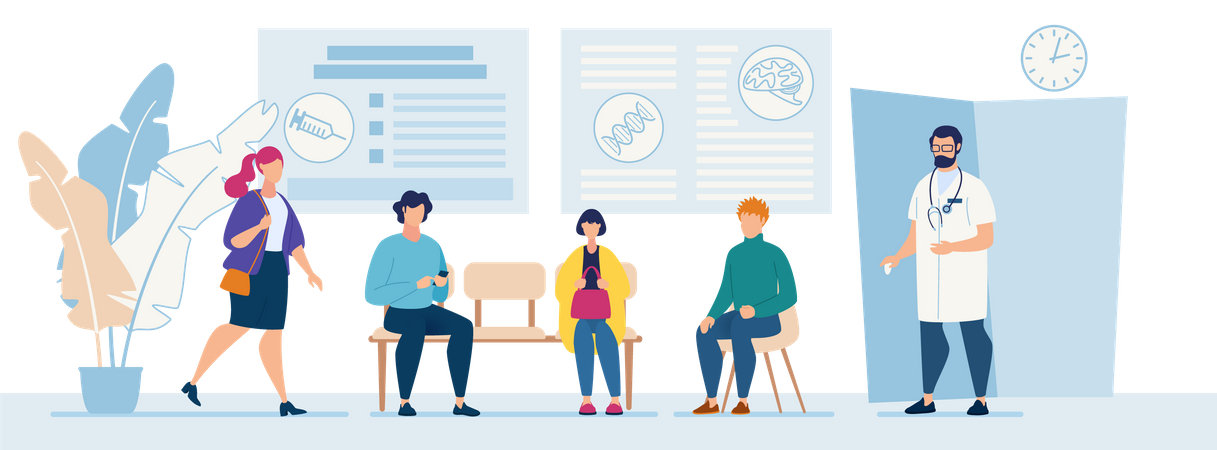 Patients Sitting in Chairs Waiting Appointment Time at Hospital Doctor Consultation Modern Clinic Illustration