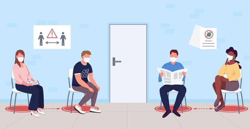 Patients waiting for coronavirus vaccine Illustration