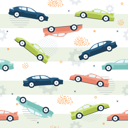 Pattern of Chaotic cars on White Background and Gray Stripes Illustration
