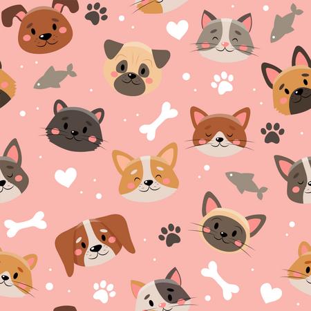 Pattern of Pet faces Illustration