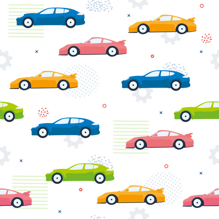 Pattern of Seamless Color Cars, Cogwheels, Dot and Lines Illustration