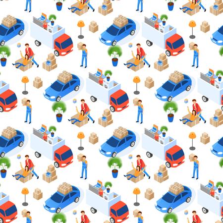 Pattern of Uniformed Transportation Staff Carry Cardboard Boxes Illustration