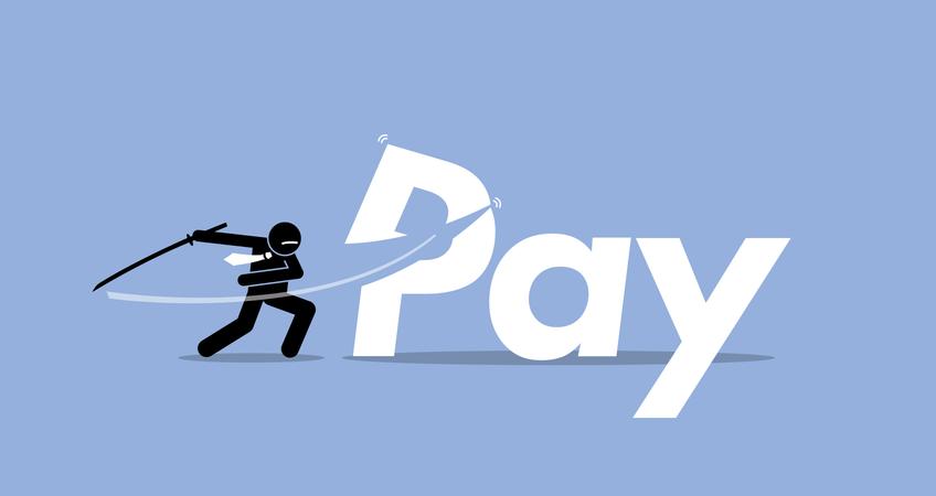 Pay cut by businessman. Illustration