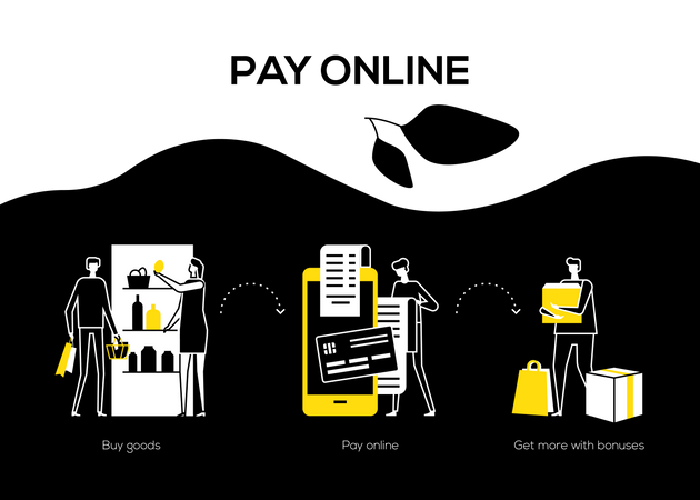 Pay online and get bonuses Illustration