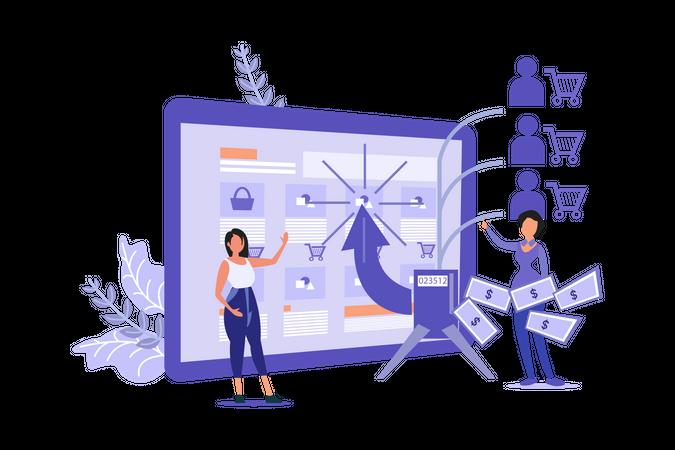 Pay Per Click Digital Marketing Illustration
